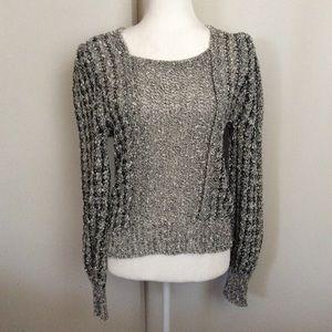 Vintage Black White Linen Sweater Ireland Sz S
